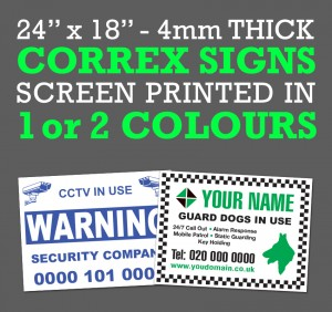 correx signs printed