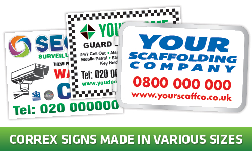 security boards, scaffolding signs