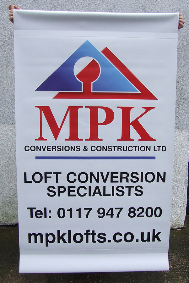 scaffold banners for loft conversion businesse in bristol